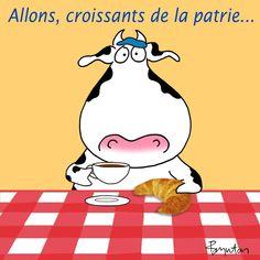 January 30 is Croissant Day. Ah, oui. Croissants, Sandra Boynton, Illustrators, Cow, Cute Animals, Artsy, Snoopy, Comics, Fictional Characters