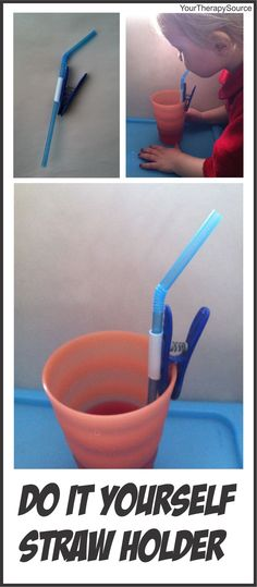 Your Therapy Source: Adapted Straw-DIY straw holder. Pinned by SOS Inc. Resources. Follow all our boards at pinterest.com/sostherapy for therapy resources.