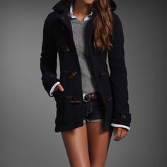 Navy jacket, grey sweater
