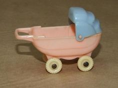 Vintage Thomas Pink Celluloid Miniature Doll House Toy Baby Stroller Buggy