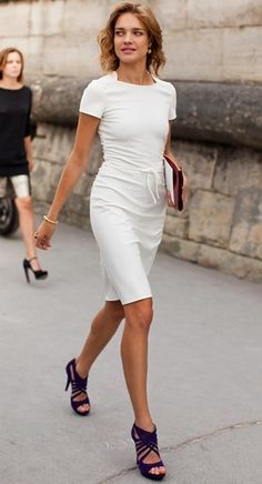 c87d1cc881c3 Anchor an all white outfit with some killer black or navy heels like Miss  Natalia Vodianova is doing here with her Valentino ensemble!