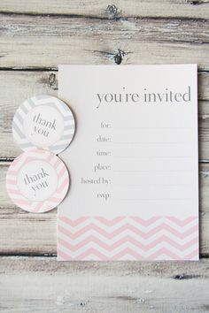 free printable chevron blush invitation and thank you tags to attach to favors.