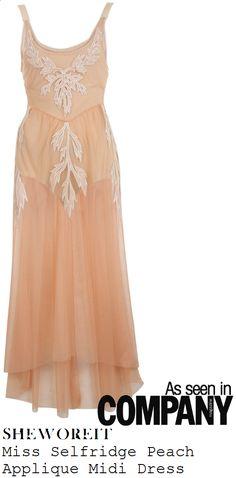 sheworeit: Lydia Brights' Miss Selfridge Nude Peach Sheer Mesh Midi Dress With Applique Detail & Detachable Bodysuit