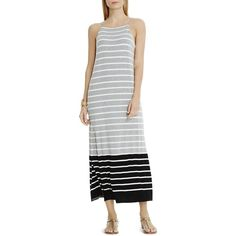 Vince Camuto Striped Side Slit Maxi Dress ($57) ❤ liked on Polyvore featuring dresses, light heather grey, striped beach dress, summer maxi dresses, striped dress, summer beach dresses and striped summer dress
