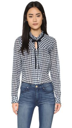 Sea Gingham Long Sleeve Top - Multi | SHOPBOP.COM saved by #ShoppingIS