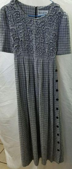 PLAZA SOUTH Women's Maxi Church Dress Size 8 Black and White #PlazaSouth #Maxi