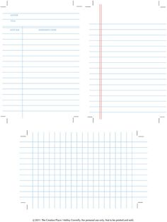 Printable Library, Graph and Note Cards