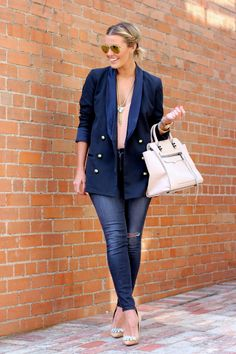 Nude Jewelled Pumps by What Courtney Wore What Courtney Wore, Courtney Kerr, Blazer With Jeans, Jeans Denim, Jacket Jeans, Jeans Shoes, Cozy Winter Outfits, Winter Wear, Mode Shoes