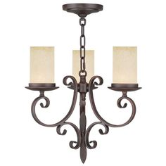 Millburn Manor Imperial Bronze Three Light Mini Chandelier - $299.90 - Product Width: 16.75 Product Depth: 16.75 Product Weight: 19 Product Height: 15.75 - Glass and Shade Type: Vintage Scavo Hand Blown Glass Chain: 2-Feet Wire: 8-Feet Canopy Size: 5.5-Inches