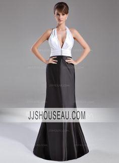 Charmeuse Sweep Train Sleeveless Ruffle  Beading Regular Straps Evening Dress Evening Dress