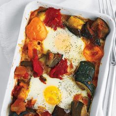 Use leftover ratatouille to make this recipe for baked eggs. Serve it with toast points or crusty bread for a simple breakfast or brunch.