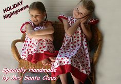 "Girls Size 4,100% COTTON Knit HoLiDaY NIGHTGOWNS ""Handmade by Mrs Santa Claus"" Label, Ready to Ship (Also in Size 6 & 8) NO Flame Retardants..."