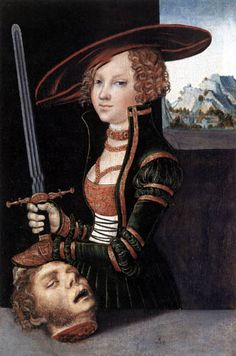 Lucas Cranach der Ältere  - Judith mit dem Haupt des Holofernes, hairdo I am not a fan of seeing the cut off head but I love the rest of it lol