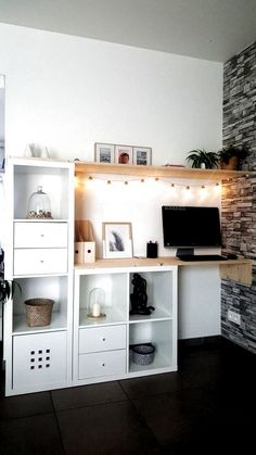 Home Office Design, Home Office Decor, Diy Home Decor, Office Ideas, Ikea Home Office, Attic Office, Post Office, Corner Office, Small Office