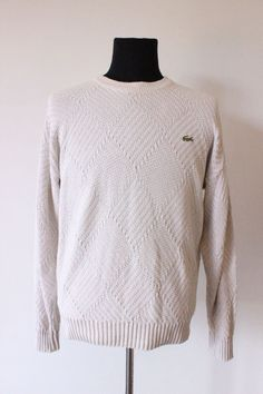 Authentic LACOSTE mens jumper SWEATER knit knitted white size 16 cotton ivory