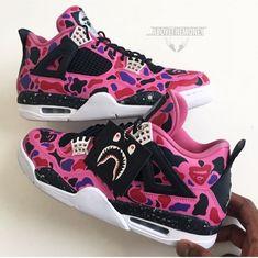 Bape AJ cop or drop? Custom Jordans, Custom Sneakers, Custom Shoes, Vans Sneakers, Sneakers Fashion, Jordan Shoes Girls, Girls Shoes, Popular Sneakers, Lit Shoes