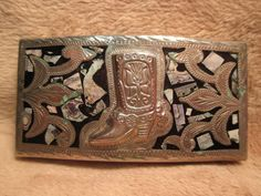 Old Alpaca COWBOY BOOT with INLAY Hand Engraved Western Belt Buckle MAKE OFFER