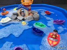 Water Themed Tuff Tray Resources and Ideas - Lighthouse with Boats Tuff Tray Small World Scene -EYFS Children - Eyfs Activities, Infant Activities, Activities For Kids, Transportation Activities, Pirate Activities, Water Activities, Tuff Tray Ideas Toddlers, Lighthouse Keepers Lunch, Eyfs Outdoor Area