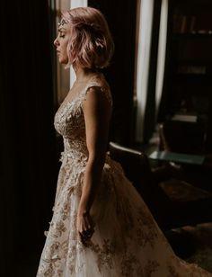Elegant Detroit Wedding Bride with Pink Hair Vintage Wedding Dress Wedding Attire, Wedding Bride, Wedding Gowns, Fall Wedding, Bridal Portrait Poses, Bridal Pictures, Detroit Wedding, Green Wedding Shoes, Custom Dresses