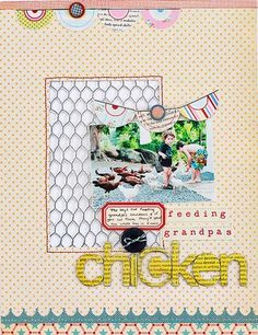 The perfect use for that chicken wire stamp. Love!