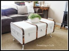 Super cute trunk turned into coffee table by adding legs