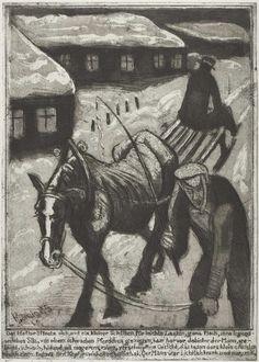 "Hans Körnig. ""22 Illustrationen zu Franz Kafka ""Das Schloß"" Blatt Nr. 5"", 1965, Radierung, Aquatinta auf Kupfer, (Pferdeschlitten), Reproduktion: © Olaf Börner/ Museum Körnigreich"
