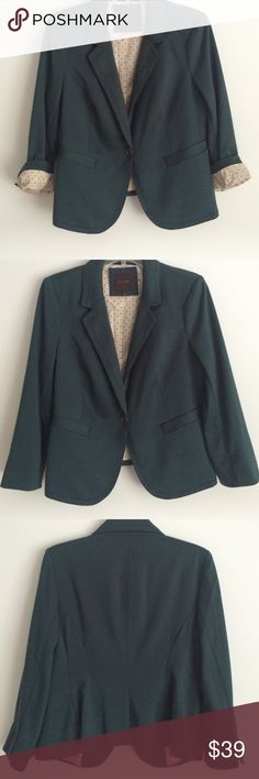 THE LIMITED BLAZER Forest Green Blazer, Tan Polka Dot Lining. 79% Polyester, 18% viscose rayon, 3% spandex The Limited Jackets & Coats Blazers