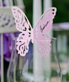 Laser Cut Butterfly - Wedding Table Name Cards - 12 Pieces - Escort Cards - Place Cards. $8.00, via Etsy.