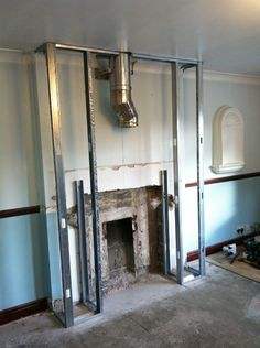 Building A Fake Fireplace Surround Making False Mantel Stud Wall Chimney Breast For - Roshak Inset Fireplace, Log Burner Fireplace, Tv Over Fireplace, Wood Burner, Living Room With Fireplace, Fireplace Surrounds, Fireplace Ideas, Log Burning Stoves, Wood Burning Fires