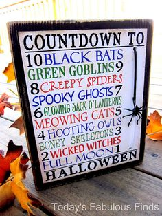 Tutorial - printable for 10 day countdown to Halloween - move the spider along the string each day