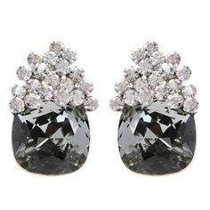 """These unique, acorn-shaped post earrings feature black diamond Swarovski crystals with a prismatic white top.    Gemstones:  Swarovski crystals Metals:  rhodium-plated Length:  0.75"""" Imported    Item number:  725-02712"""