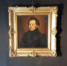 Orig. Biedermeier Portrait Ölgemälde um 1830: Herr im Anzug. Shabby Chic Vintage