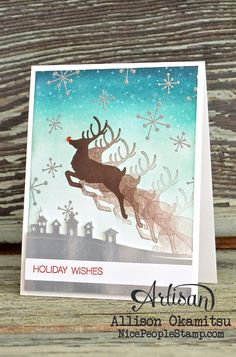 The Jolly Christmas stamp set from Stampin' Up! makes adorable handmade Christmas cards! - Allison Okamitsu