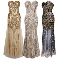 1920s Strapless Dress Deco Great Gatsby Vintage Sequin Cocktail Party Long Gown | Clothing, Shoes  Accessories, Womens Clothing, Dresses | eBay! Bridesmaids