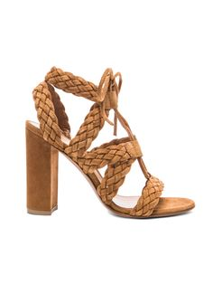 { Gianvito Rossi Braided Suede Heels in Almond Suede }