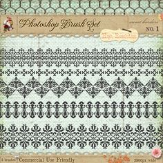 French Borders Brushes 1 by starsunflowerstudio on DeviantArt Photoshop Shapes, Photoshop Brushes, Paisley Art, Border Embroidery Designs, Header Banner, Print Design, Graphic Design, Classic Wedding Invitations, Make Blog