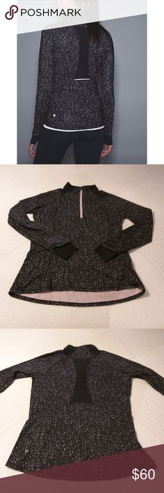 Lululemon Go the Distance 1/2 Zip Jacket Size 12, lightweight, black & pink speckle print. Gently washed, has soft feel. Maybe a tiny bit of fading at collar? Very minor pilling but does not stand out due to nature of print. Beautiful dusty rose zipper & inner fabric color. Thumbholes/cuffs are black mesh. Pleated mesh on back & collar. Tag/dot confirmed. Haven't seen this style/size a lot, make me an offer! No stains. Smoke free home. lululemon athletica Jackets & Coats