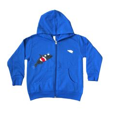 mi cielo x Matthew Langille - Shark & Fish – Royal Blue Kids Zipup Hoodie – Boys or Girls by micielomicielo on Etsy