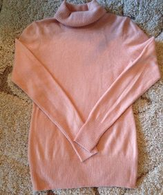 Women's J.CREW Sz S Pink 100% Cashmere Turtleneck Sweater Long Spring #JCrew #TurtleneckMock