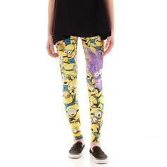 Minion Leggings White ($15) ❤ liked on Polyvore featuring pants, leggings, bottoms, white trousers, print leggings, hybrid tees, patterned leggings and print trousers