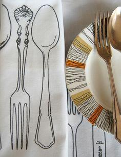 Vintage Cutlery screen printed napkins - Folksy - simple but effective i feel