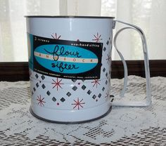 Vintage 1950's Androck 3 Screen Flour Sifter with Label Unused Snowflake Pattern