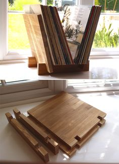 Vinyl Record Display, Vinyl Record Storage, Diy Furniture Projects, Wood Furniture, Wood Projects, Wooden Shelf Design, Vinyl Shelf, Record Crafts, Rose House