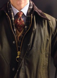 Barbour Bedale Johnstons cashmere scarf J. Crew wool cardigan Borrelli shirt Brooks Brothers ancient madder tie Snow