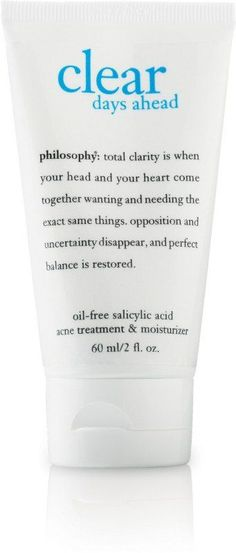 Clear Days Ahead Oil-Free Salicylic Acid Acne Treatment & Moisturizer by Philosophy helps clear skin, while delivering breathable, oil-free hydration for completely clear skin. Cystic Acne Treatment, Natural Acne Treatment, Natural Acne Remedies, Home Remedies For Acne, Natural Cures, Natural Healing, Herbal Remedies, Natural Skin, Salicylic Acid Acne