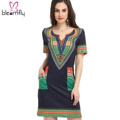 aebf42e5c Dashiki dress 2017 Summer Sexy African Print Shirt Dresses Femme Vintage  Mini hippie Plus Size Boho Women Casual Clothing-in Dresses from Women's  Clothing ...