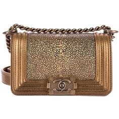 Pre-owned Chanel Mini Galuchat Boy Bag ($3,800) ❤ liked on Polyvore featuring bags, handbags, gold, leather handbags, leather hand bags, leather man bags, chanel handbags and mini handbags