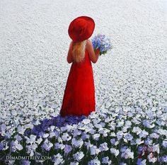 Innocent Girl (Painting),  90x90x2 cm by DIMA DMITRIEV The painting characterized by strong colour and bold strokes makes with palette knife on canvas background playing with light and shadow.