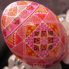 Duck Egg Pysanka by Katrina Lazarev, Pysanky. Wonderful use of colors.
