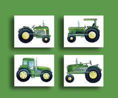 John Deere Tractor art, tractor nursery kids art, blue green boys art